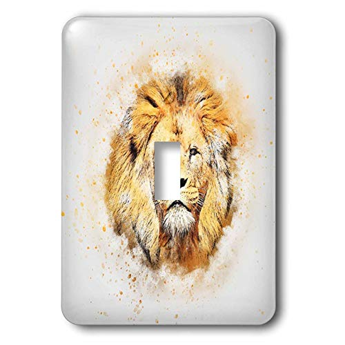 3dRose lens Art by Florene - Watercolor Art - Image of Portrait Painting Of Majestic Lion - Light Switch Covers - single toggle switch (lsp_300361_1)