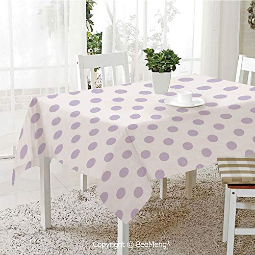 BeeMeng Large Family Picnic Tablecloth,Easy to Carry Outdoors,Lavender,Old Fashioned Retro Design with Polka Dots Classical Spotted Tile Pattern,Lavander White,59 x 104 inches