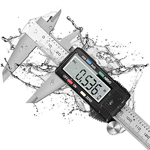(Dijite CaliperMeasuringTool, Digital Caliper with ABS/0 Button, IP54 Waterproof MicrometerCaliperDigital Stainless Steel Body, 6 Inch /150 mm, Inch to Metric Conversion, Auto-off LCD Screen)