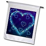 3dRose fl_127711_1 Blue Hearts Valentine Garden Flag, 12 by 18-Inch
