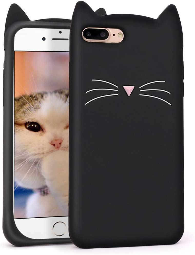 Megantree Cute iphone 7 Plus case, iphone 8 Plus case, Funny 3D Cartoon Animal Black Whisker Cat Ears Kitty Case for Girls, Soft Silicone Shockproof Slim Fit Back Cover Cases for iphone 7+ / iphone 8+