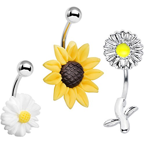 Belly Button Ring Body Candy (Body Candy Stainless Steel Flower Power Fiesta Belly Button Ring 3)