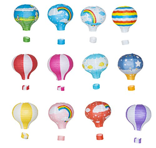 12' Black Tissue - Hot Air Balloon Paper Lantern Reusable Chinese Japanese Party Ball Lamp Decoration 4 Festival Anniversary Christmas Wedding Engagement Happy Birthday String Light Rainbow Star Mix Color Set of 12