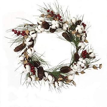 Decoraciones navideñas, Corona de Navidad, Corona de algodón simulada, Corona de Cono de Pino, Corona de dintel de Puerta, Decoraciones de la Puerta Delantera for Interiores o Exterior