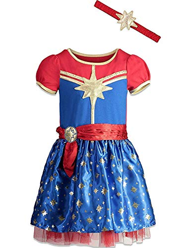 Captain Marvel Girls Short Sleeve Costume Dress & Headband 7/8 Blue -