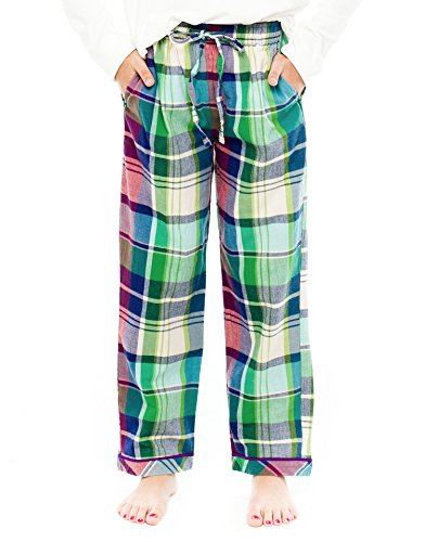 (TINFL Girls Plaid Check Soft 100% Cotton Lounge Pants PG-18-Redgreen-YM)