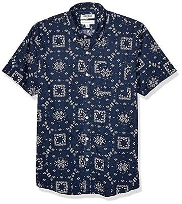 Amazon Brand - Goodthreads Men's Short-Sleeve Printed Poplin Shirt