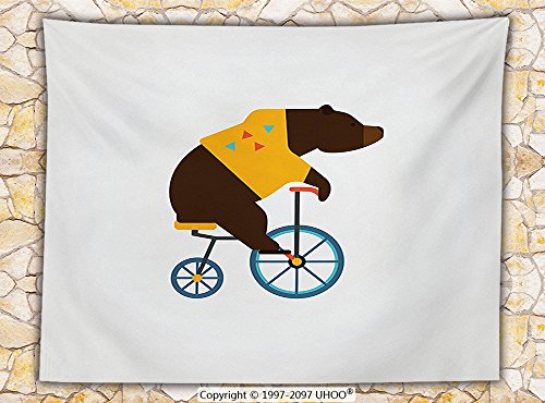 Social Media Icon Costumes (Bicycle Decor Fleece Throw Blanket Big Teddy Bear Icon of Circus Riding Bicycle with Trendy Hipster Costume Animal Image Throw)