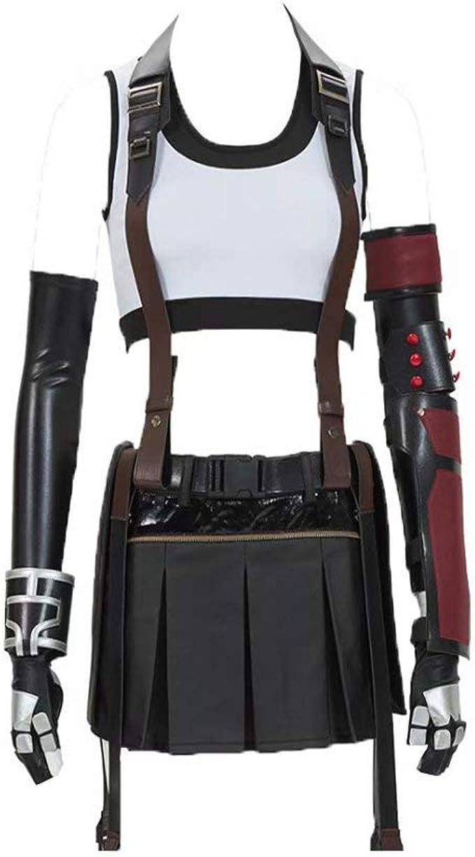 FF VII Tifa Lockhart Cosplay Costume Oufit Vest Pants Full Set Suit