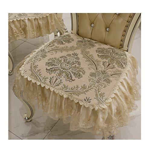 European Dining Chair Cushion, Restaurant seat Cushion, Chair Cushion, American Stool Cushion, Four Seasons Universal Non-Slip Fabric lace Skirt seat Cushion (Color : (2) Beige)