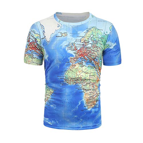 Yucode Fashion Unique Mens Cool World Map Funny 3D Print T-Shirt Summer Clothing Tops Tees