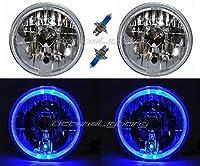 "OCTANE LIGHTING 7"" Blue Led Halo Angel Eyes Halogen H4 Headlight Headlamp Light Bulbs 12 Volt Pr"