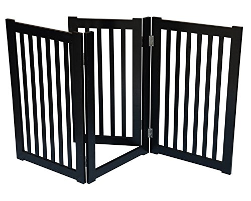 3-Panel Free Standing Pet Gate 60″W x 32″H – Black