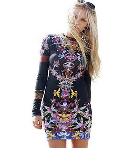 PU&PU Robe Aux femmes Moulante Simple,Imprimé Col Arrondi Au dessus du genou Polyester , black-xl , black-xl