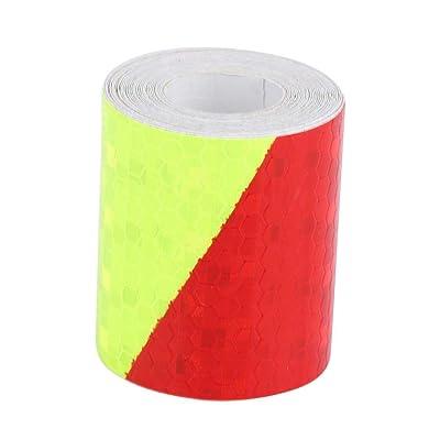 Cuque 5cm 3m PVC Material Reflective Warning Tape Sticker Strip Decal for Car Automobile Vehicle Body Auto Reflective Film (Fluorescenc): Automotive