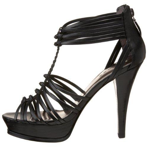 Guess Leather Platforms - GUESS Women's Toggle Platform Sandal,Black/Black,8.5 M US