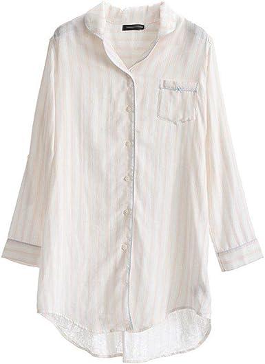 Pijama Pijamas De Verano For Damas Algodón Camisa A Rayas Sexy De Algodón Pijamas Pijamas Casuales De Confort Pijama de Mujer: Amazon.es: Ropa y accesorios