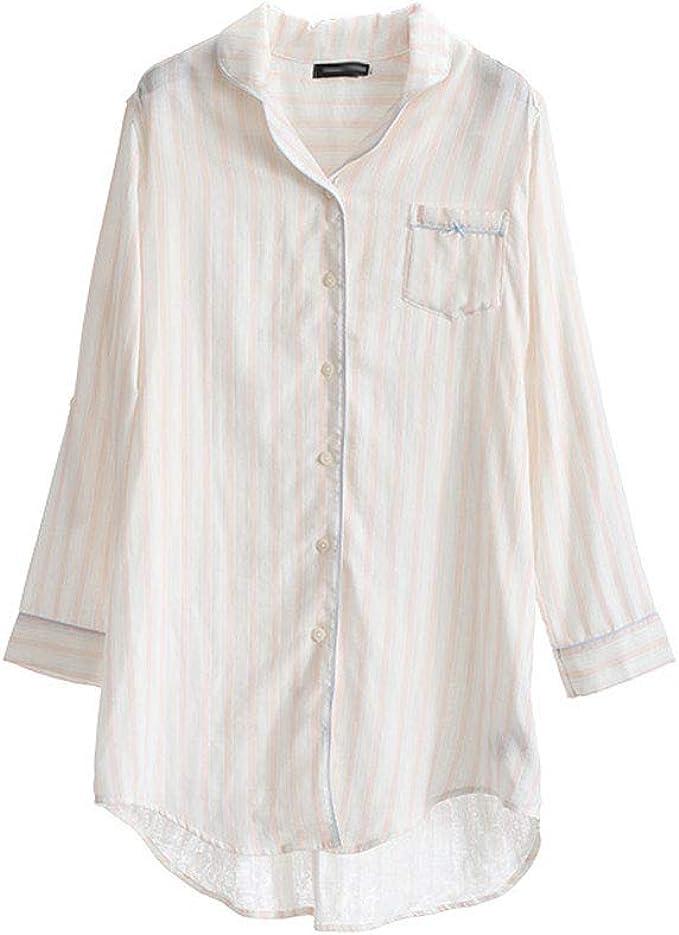 Pijamas de Mujer Pijamas De Verano For Damas Algodón Camisa A Rayas Sexy De Algodón Pijamas Pijamas Casuales De Confort: Amazon.es: Ropa y accesorios