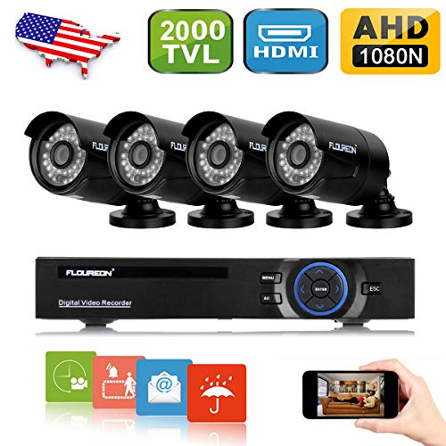 FLOUREON House Camera 8CH 1080N AHD CCTV DVR House Security System + 4 X 2000TVL 960P HD Bullet Indoor/Outdoor Camera Surveillance Security for Home/Apartment/Office/Factory/Store (8CH+2000TVL bullet) ()
