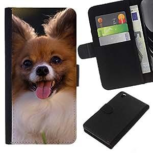 EJOY---La carpeta del tirón la caja de cuero de alta calidad de la PU Caso protector / HTC DESIRE 816 / --Papillon Chihuahua pequeño perro canina