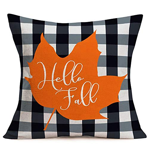 Asminifor Autumn Maple Leaves Pillow Covers Black White Buffalo Checkers Plaid Background Cotton Linen Decorative Throw Pillow Cover Hello Fall Quote Cushion Cover Pillowcase 18 x 18 Inches (F-BC4) (Fall Hello)