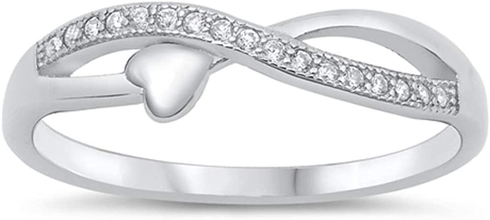 Buy For Less Clear Cubic Zirconia Infinity Symbol with Heart Ring 925 Sterling Silver