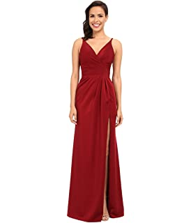 62fec50ba2e Faviana Womens Satin Faille V-Neck Gown w Lightly Rouched Bodice   Delicate  Draping
