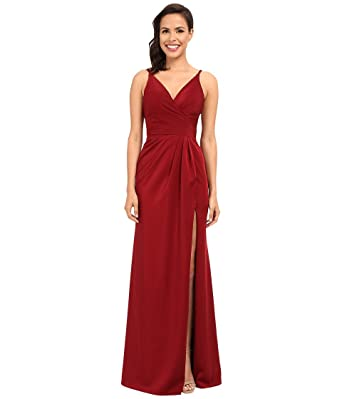 1cd35611f7e Amazon.com  Faviana Women s Satin Faille V-Neck Gown w  Lightly Rouched  Bodice   Delicate Draping On Skirt 7755 Wine Dress 8  Clothing