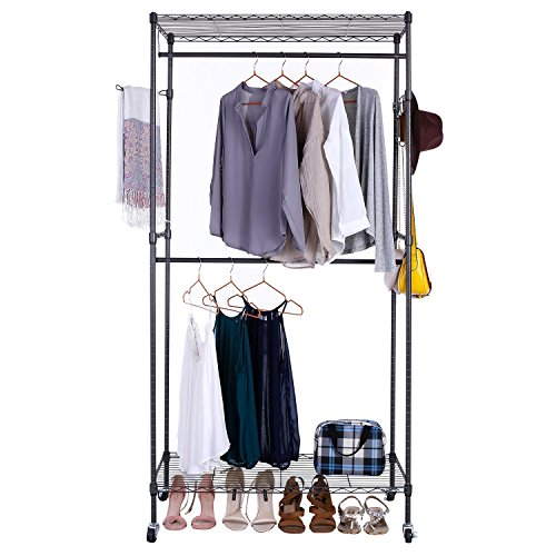 Garment Storage Wall Unit - Benlet Portable Rolling Wire Clothes Shelving Rack Unit, Garment Hanging Hanger with Hooks for Home Organization & Storage (Grey rack silver wheels)