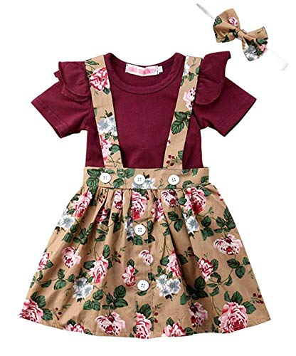 LOliSWan 2Pcs Infant Toddler Baby Girls Summer Boho Floral Rompers Jumpsuit Strap Skirt Overall Dress Outfits Set (Wine red, 6-12 ()