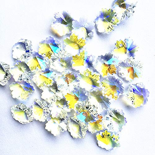 100Pcs /Lot 14mm Creative Design Clear Ab Glass Crystal Snowflake Beads with 1 Holes DIY Curtain Accessories ()