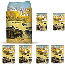 Taste of the Wild High Prairie Variety Pack Dog Food Combo Bison, 1-5 lb. Bag High Prairie Dry Dog Food & 6-13.2 oz. High Prairie Wet Dog Food Cans, Grain Free Dog Food 7 - Items Total!
