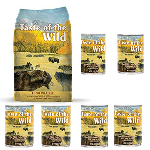 Taste of the Wild High Prairie Variety Pack Dog Food Combo Bison, 1-5 lb. Bag High Prairie Dry Dog Food & 6-13.2 oz. High Prairie Wet Dog Food Cans, Grain Free Dog Food 7 – Items Total! Review