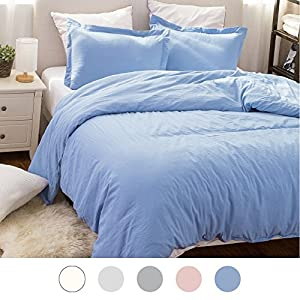 Duvet Cover Set with Zipper Closure-Solid Vintage Washed Blue,Full/Queen (90