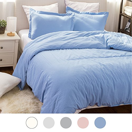 Duvet Cover Set with Zipper Closure-Wrinkled Vintage Style Washed Blue,King (104