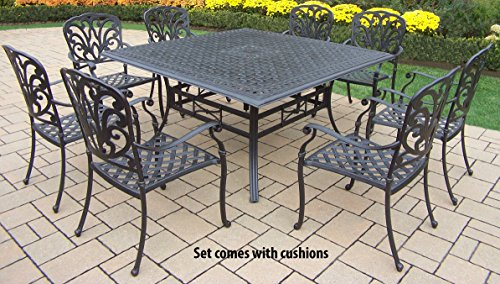 Oakland Living Hampton 9-Piece Square Dining Set with Cushions, 60-Inch - Rust Free Aluminum Construction Hardened Powder Coat Finish in Antique Black for Years of Beauty Easy to Follow Assembly Instructions and Product Care Information - patio-furniture, dining-sets-patio-funiture, patio - 51%2Bm0LvWkzL -