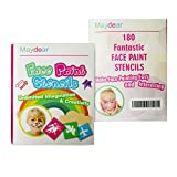 Maydear Face Paint Stencils for Kids (180 Designs) - Reusable, Soft and Easy to Stick Down, Non-Toxic to Kids and Perfect for Parties, Christmas, Halloween, Carnivals, School & Church Events