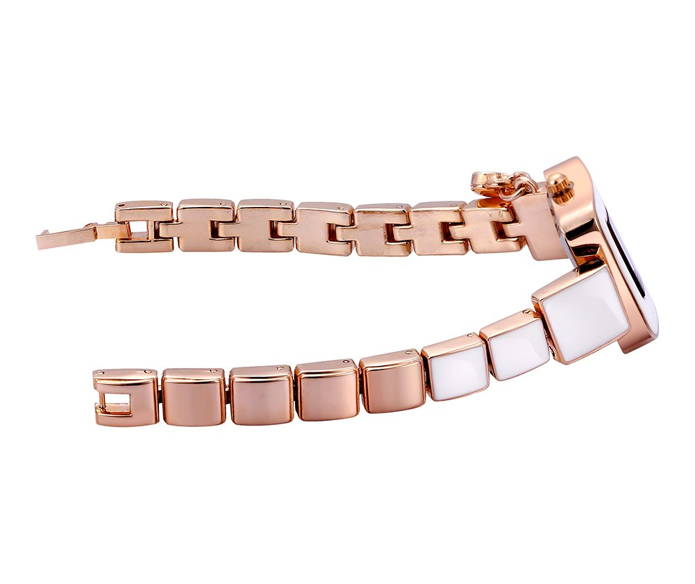 AStarsport Women Ladies Classical Casual Cute Square case Shell Dial with Rhinestone Love Pendant Women's Dress Watches Fashion Wrist Watch Rose Gold Silver by Astarsport (Image #5)