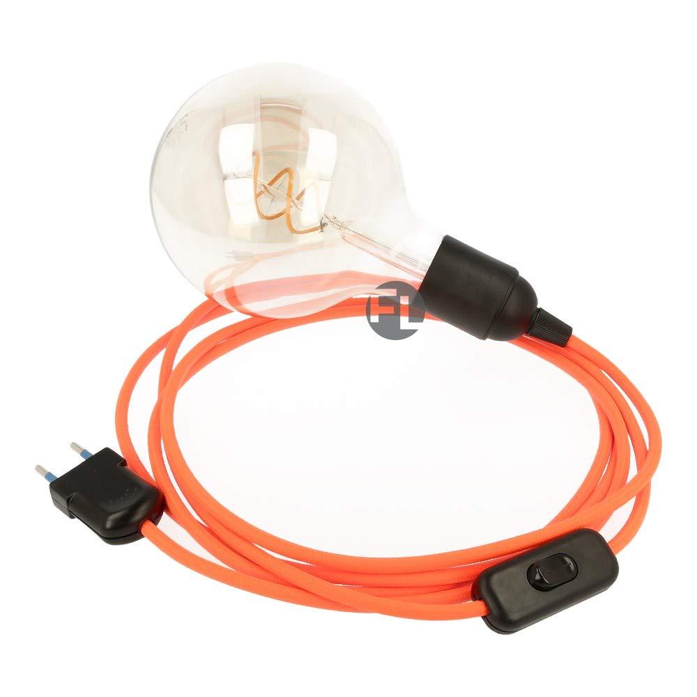 Câble textile avec douille E27 et interrupteur | Câble avec prise et interrupteur 2 fils (2 x 0,75 mm2)