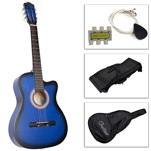 Beginners Acoustic Guitar With Guitar Case, Strap, Tuner and Pick blue (Pink Cutaway Acoustic Guitar)