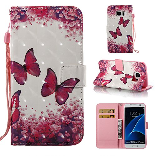 Price comparison product image Galaxy S8 Case,  ARSUE Magnetic Premium Slim Fit PU Leather Kickstand Wallet Flip Protective Case Cover with Card Slot for Samsung Galaxy S8(Red Butterfly)