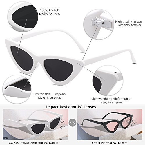 1d7f7455f3a4d SOJOS Clout Goggles Cat Eye Sunglasses Vintage Mod Style Retro Kurt Cobain  Sunglasses SJ2044 with White Frame Grey Lens - SJ2044C4   Sunglasses    Clothing