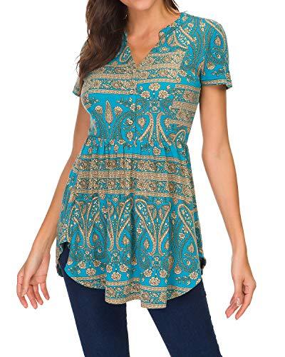 Unifizz Women's Summer Floral Print Top V Neck Blouse Short Sleeve Tops Peplum Blouse Shirt Floral Turquoise Blue Size XL (Top Peplum Turquoise)