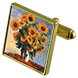 Monet Sunflowers Painting Gold-tone Cufflinks in pouch