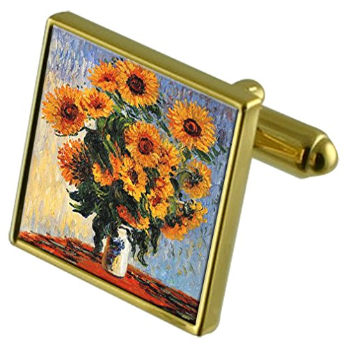 (Select Gifts Monet Sunflowers Painting Gold-Tone Cufflinks in Pouch)