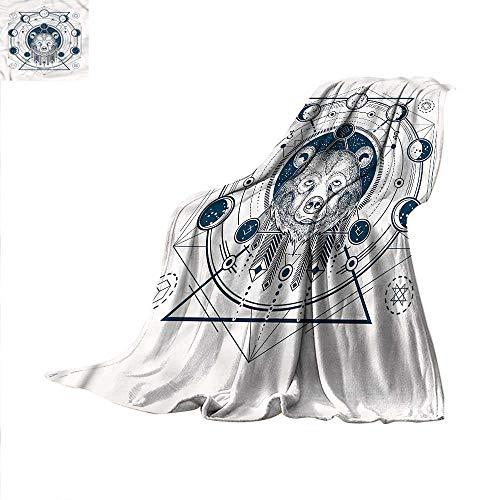 Moon Phases Warm Microfiber All Season Blanket Hipster Tattoo Bear Print Artwork Image 60