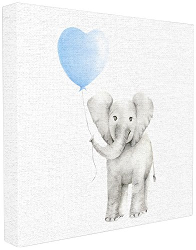 Stupell Industries Baby Elephant Blue Balloon Linen Look Stretched Canvas Wall Art, Proudly Made in USA