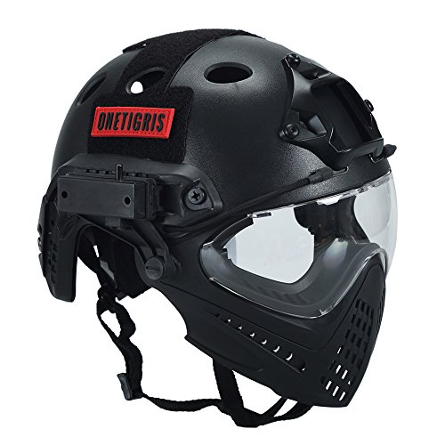 OneTigris Integrated Tactical PJ Helmet F22 with Removable Face Mask and...