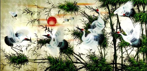 """Vietnamese Lacquer Paintings - 24"""" x 48"""" White Cranes and the Red Sun - LPSC12"""