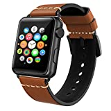 Apple Watch Band 42mm Leather,Swees iWatch Genuine Leather Bands Elegant Tan Strap Wristband with Stainless Steel Buckle for Apple Watch Series 3, Series 2, Series 1, Sports & Edition Women Men, Brown